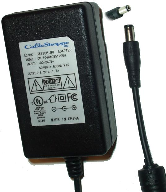 Cable Shoppe OH-1048A0851700U AC Adapter 8.2VDC 1.7A -(+)- 2x5.5