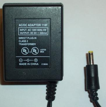 118F AC ADAPTER 6VDC 300MA POWER SUPPLY