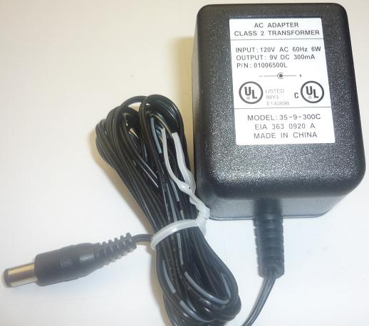 35-9-300C AC ADAPTER 9VDC 300mA Toshiba Phone system USED -(+)