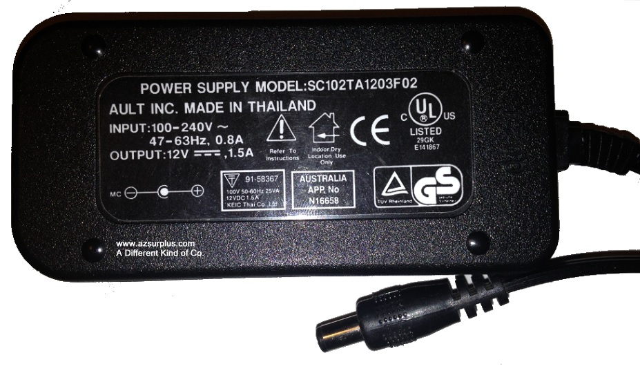 3COM SC102TA1203F02 AC ADAPTER 12VDC 1.5A USED 2.5x5.4x9.5mm -(+