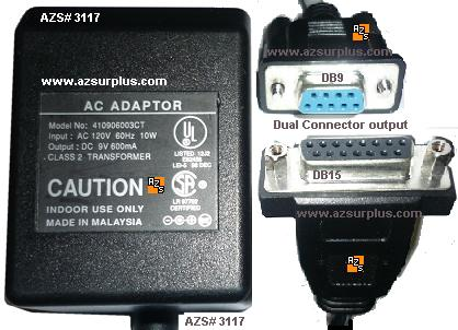410906003CT AC Adapter 9Vdc 600mA DB9 & RJ11 Dual Connector