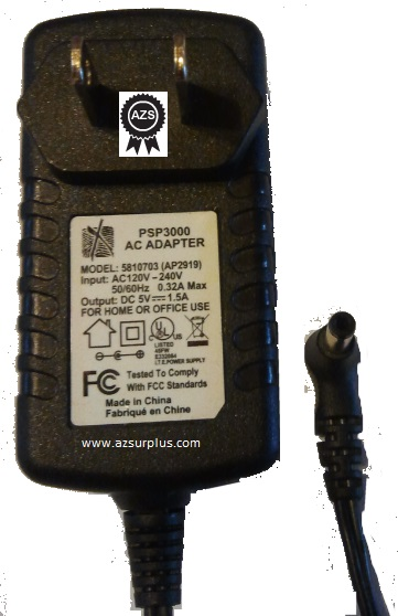 5810703 (AP2919) AC ADAPTER 5VDC 1.5A -(+) Used 1.5x4x10 mm 90°