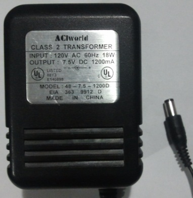 ACIWORLD 48-7.5-1200D AC ADAPTER 7.5V DC 1200MA POWER SUPPLY