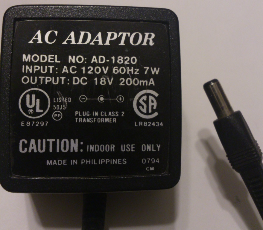 AD-1820 AC ADAPTER 18VDC 200mA USED 2.5x5.5x12mm -(+)-