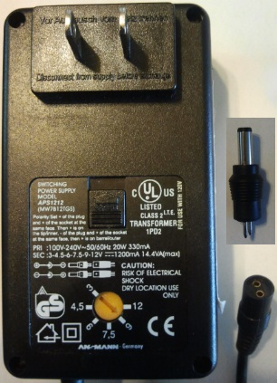 ANSMANN APS1212 AC ADAPTER UNIVERSAL 3-12VDC 1200MA POWER SUPPLY