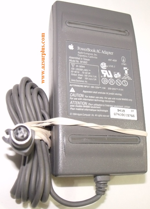 APPLE POWERBOOK M1893 AC ADAPTER 16VDC 1.5A 16V 1A USED 4 PIN DI