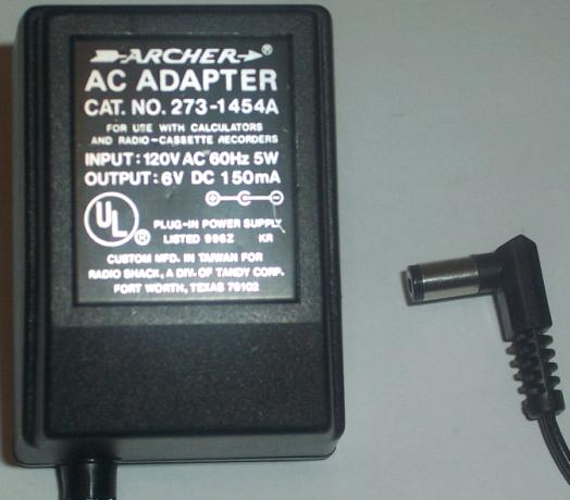 ARCHER 273-1454A AC DC ADAPTER 6V 150MA POWER SUPPLY