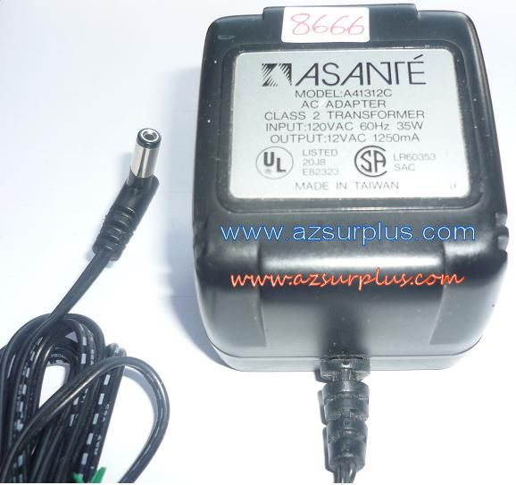 ASANTE A41312C AC ADAPTER 12VAC 1250mA USED ~(~) 2x5.5mm 90°