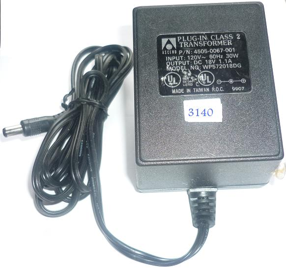 ASCEND WP572018DG AC ADAPTER 18VDC 1.1A USED -(+) 2.5x5.5mm POW
