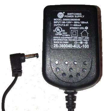 AT&T SIL S005IU060040 AC ADAPTER 6VDC 400mA -(+)- 1.7x4mm Used