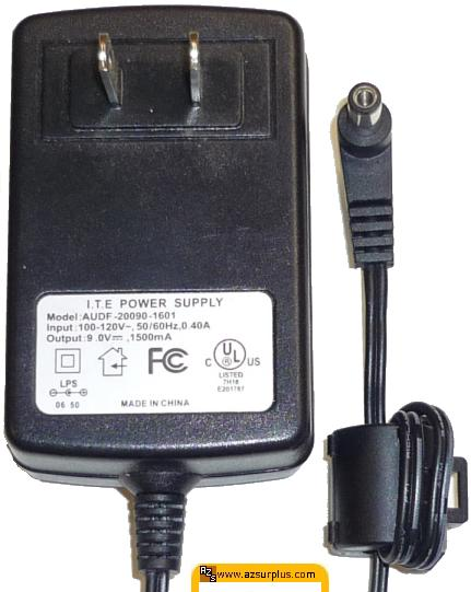 AUDF-20090-1601 AC ADAPTER 9VDC 1500mA -(+) 2.5x5.5mm 120vac POW