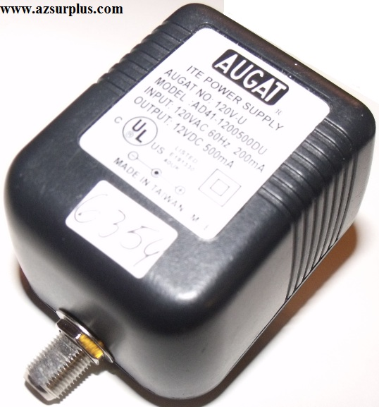 AUGAT AD41-1200500DU AC ADAPTER 12VDC 500mA USED -(+) RF PIN ITE