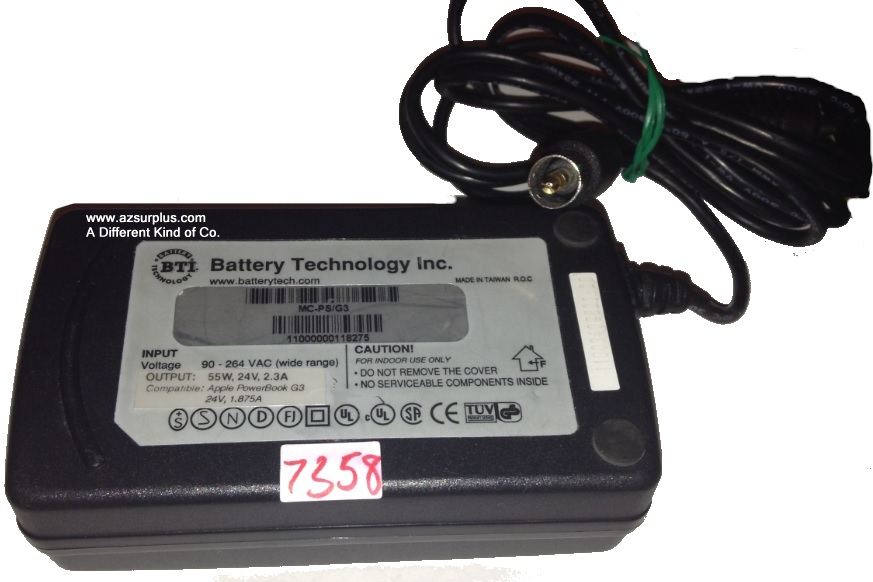 BATTERY TECHNOLOGY MC-PS/G3 AC ADAPTER 24VDC 2.3A 5W Used Female