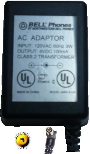 BELL PHONES MWD-6100 AC ADAPTER 6V DC 100mA DIRECT PLUG IN POWER