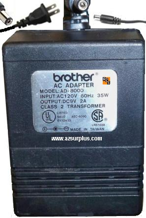 BROTHER AD-8000 AC ADAPTER 9Vdc 2A 2mm cente +ve POWER SUPPLY P-