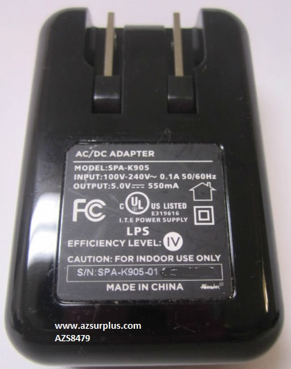 Blueant SPA-K905 5VDC 550mA 0.544A USB A female AC ADAPTER POWER