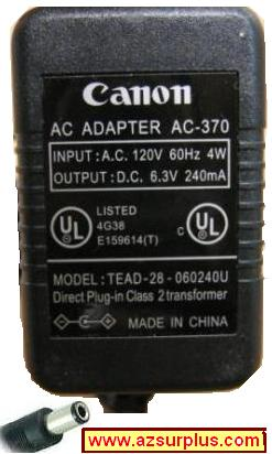 CANON TEAD-28-060240U AC ADAPTER 6.3VDC 240mA P23-DH CALCULATOR