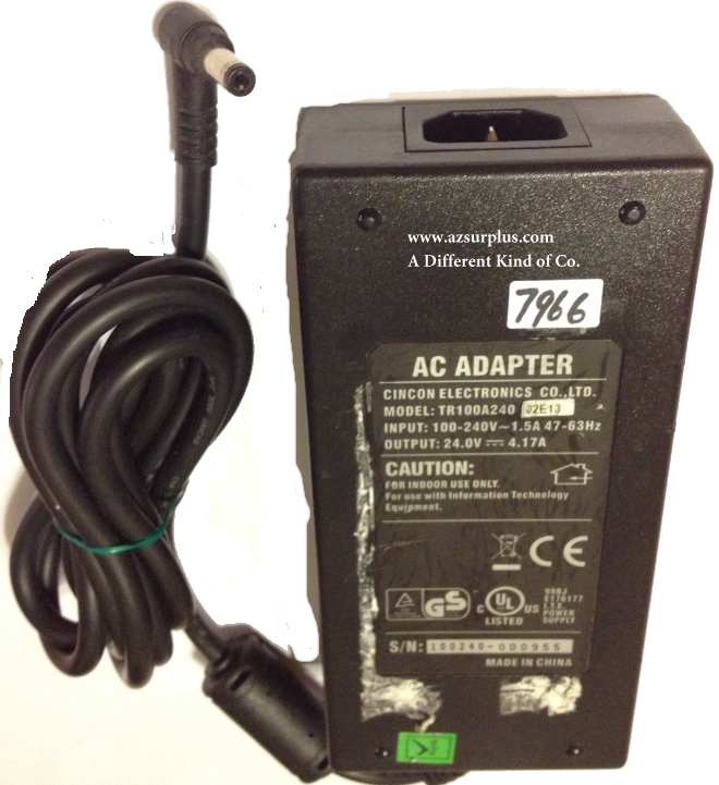 CINCON TR100A240 AC ADAPTER 24VDC 4.17A 90Degree round barrel 2.