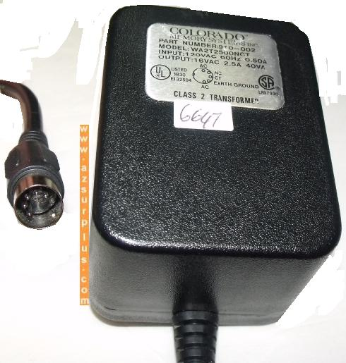 COLORADO WA2T2500NCT AC ADAPTER 16VAC 2.5A Used 5 Pin Din Class
