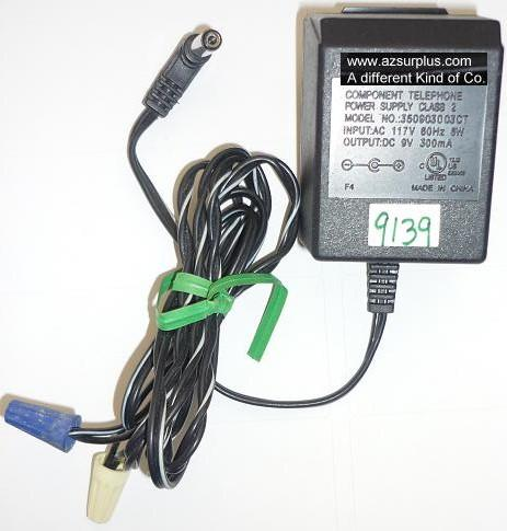 COMPONENT TELEPHONE 350903003CT AC ADAPTER 9VDC 300mA USED -(+)