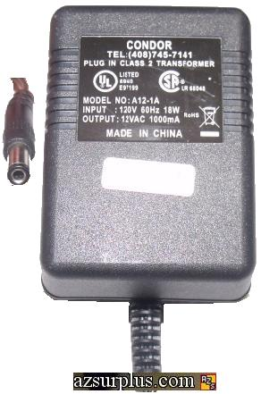 CONDOR A12-1A AC ADAPTER 12VAC 1A Power supply