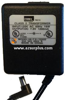Corex 48-7.5-1200D AC ADAPTER 7.5VDC 1.2A DIRECT PLUG-IN Linear