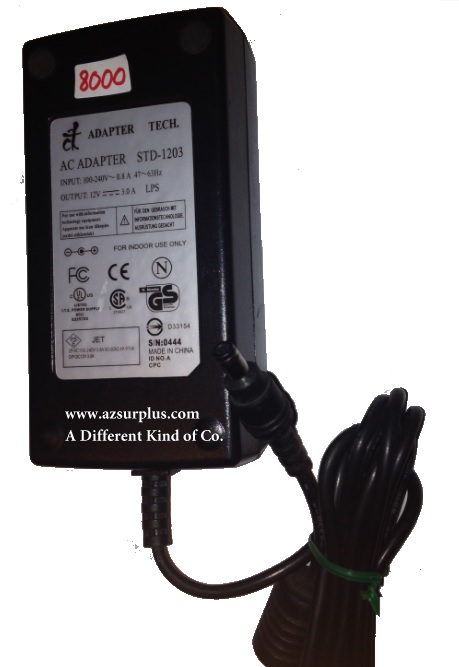 CT STD-1203 AC ADAPTER -(+) 12VDC 3A USED -(+) 2.5x5.4mm Straigh