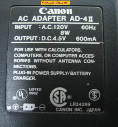 Canon AD-4II AC ADAPTER 4.5V 600mA POWER SUPPLY BATTERY Charger