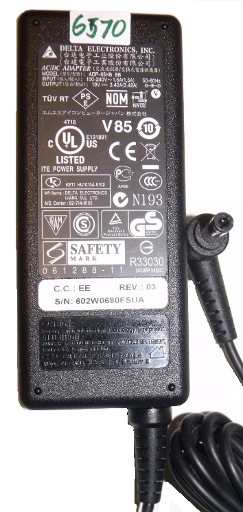 DELTA ADP-65HB BB AC ADAPTER 19VDC 3.42A Used-(+) 2.5x5.5mm 100-