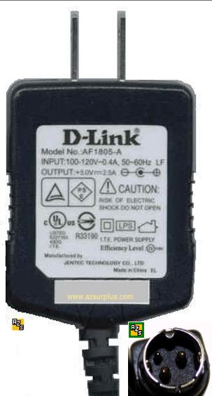 D-Link AF1805-A AC ADAPTER 5VDC 2.5A 3 PIN DIN POWER SUPPLY