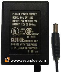 DV-1220 AC ADAPTER 12VDC 200mA -(+)- 2x5.5mm PLUG-IN POWER SUPPL