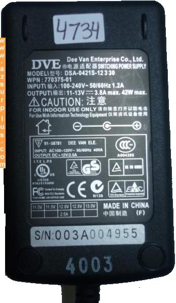 DVE DSA-0421S-12330 AC ADAPTER 13V 3.8A SWITCHING POWER SUPPLY