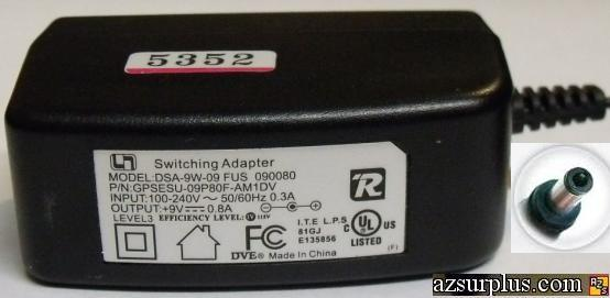 DVE DSA-9W-09 FUS 090080 AC ADAPTER 9V 0.8A SWITCHING POWER ADAP