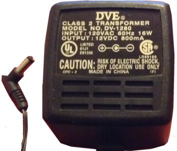 DVE DV-1280 AC ADAPTER 12V DC 800mA +(-) 2.5x5.5mm Used 2.4 x 5