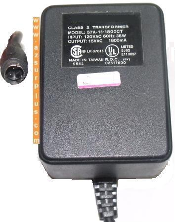 57A-15-1800CT AC ADAPTER 15VDC 1800mA 3 PIN MINI DIN USED POWER