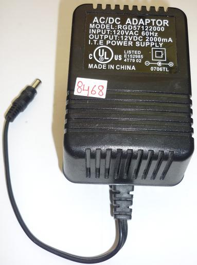 RGD57122000 AC ADAPTER 12VDC 2000mA USED -(+) 2x5.5mm POWER SUPP