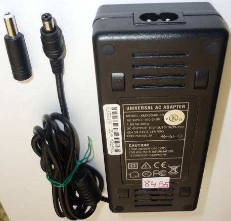 XMX9048BLED UNIVERSAL AC ADAPTER USED -(+) 2x5.5mm 12VDC