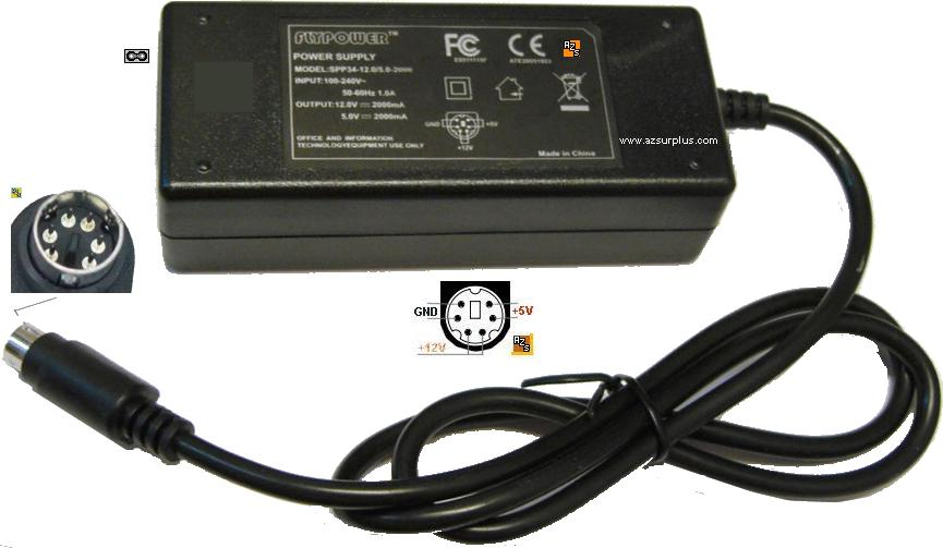 FLYPOWER SPP34-12.0/5.0-2000 AC ADAPTER 12V 5VDC 2A 6Pins 9mm mi