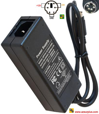 Finecom 34W-12-5 AC Adapter 5VDC 12V 2A 6Pin 9mm Mini Din DUAL V