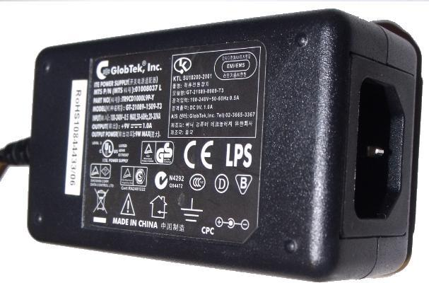 GLOBTEK GT-21089-1509-T3 AC ADAPTER 9VDC 1A USED -(+) 2.5x5.5mm