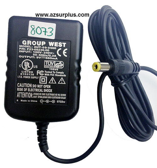 GROUP WEST AUT-09-0660 AC ADAPTER 9VDC 660mA NEW -(+)- 3x5.5mm