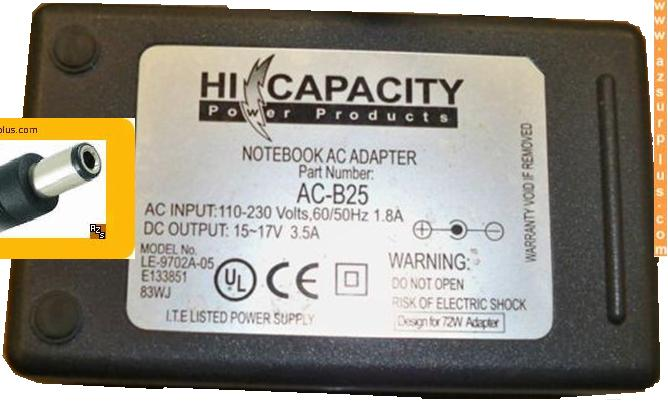 HI CAPACITY LE-9720A-05 AC ADAPTER 15-17Vdc 3.5A -(+) 2.5x5.5mm