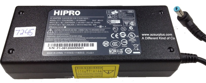 HIPRO HP-A0904A3 AC ADAPTER 19VDC 4.74A 90W Used -(+)- 2x5.5mm 9