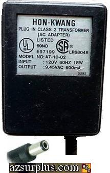 HON-KWANG A7-10-02 AC ADAPTER 9.45VAC 600mA ~(~) 2.5x5.5mm Used