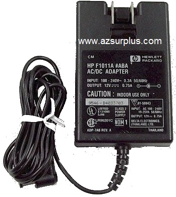 HP F1011A AC ADAPTER 12VDC 0.75A Used -(+)- 2.1x5.5 mm 90 Degree