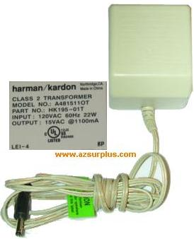 Harman Kardon A481511OT AC ADAPTER 15VAC 1100mA USED ~(~) 2x5.5