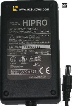 HIPRO HP-02036D43 AC ADAPTER 12VDC 3A -(+) 36W POWER SUPPLY