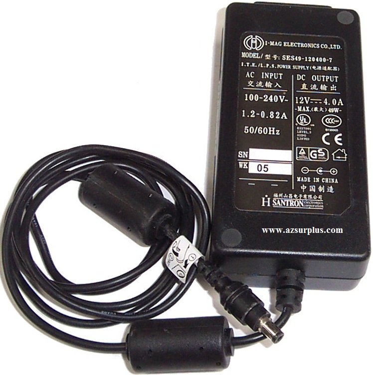 I-MAG SES49-120400-7 AC Adapter 12VDC 4A -(+) 2x5.5mm 100-240vac