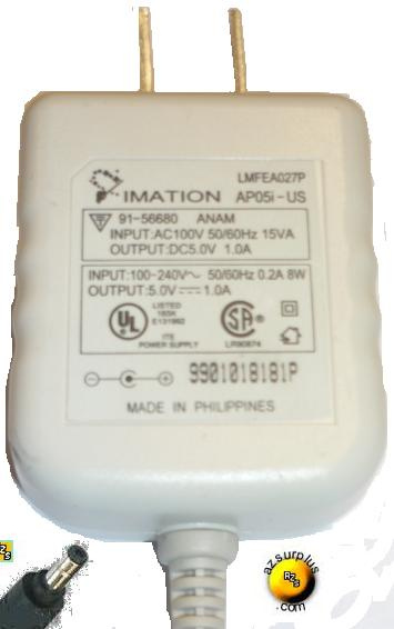 IMATION AP05I-US AC ADAPTER 5VDC 1A 8W DIRECT PLUG IN POWER SUPP