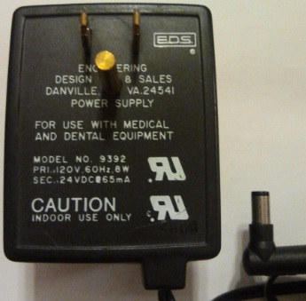 IMEX 9392 AC ADAPTER 24VDC 65MA USED 2 x 5.5 x 9.5mm